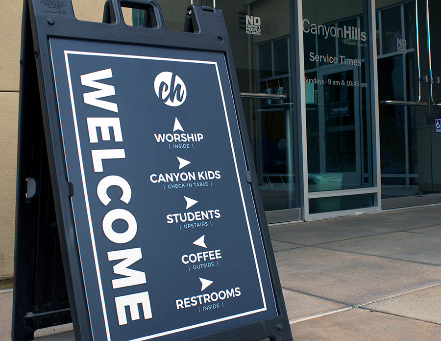 Canyon Hills Friends Church Front Door Welcome Sign